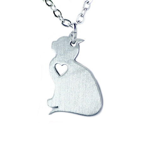 simple silver color cute cat necklace & pendant for women