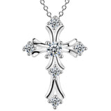 silver color cross white purple zircon pendant necklace