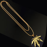 hip hop style hemp leaves pendant chain necklace