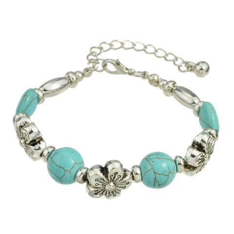 antique silver color flower blue stone strand bracelet for women