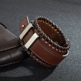 cool wide adjustable leather wristband cuff bracelet for men