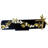 elegant crystal & imitation pearl starfish hair pin jewelry