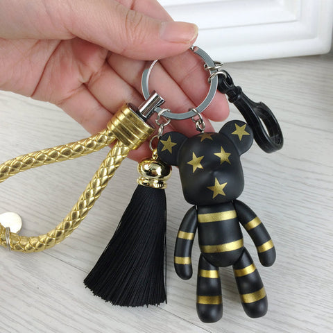cool bear shape & tassel key chain for women