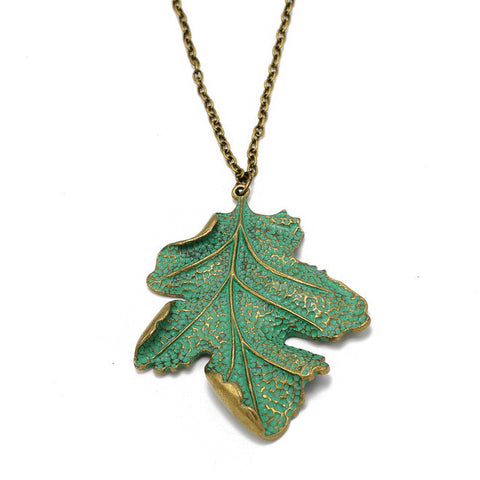 green leaf antique gold color pendant necklace