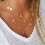 3 layer chain bar necklace beads and long strip pendant