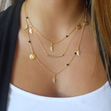 3 layer chain bar necklace beads and long strip pendant - very-popular-jewelry.com