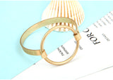 simple punk style big round gold cuff bracelet
