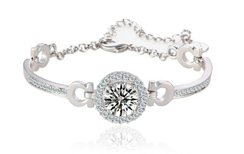 luxury cubic zirconia chain & link bracelet for women