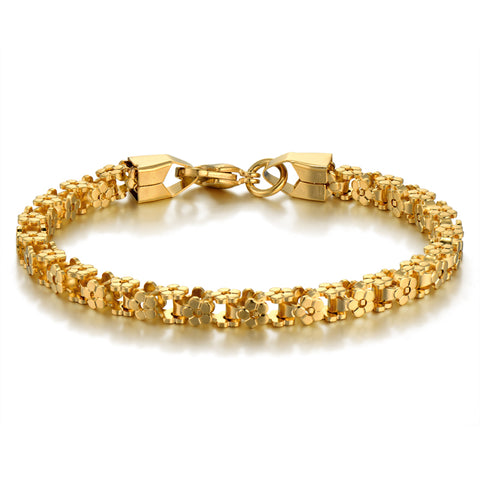 gold color stainless steel chain link bracelet for women