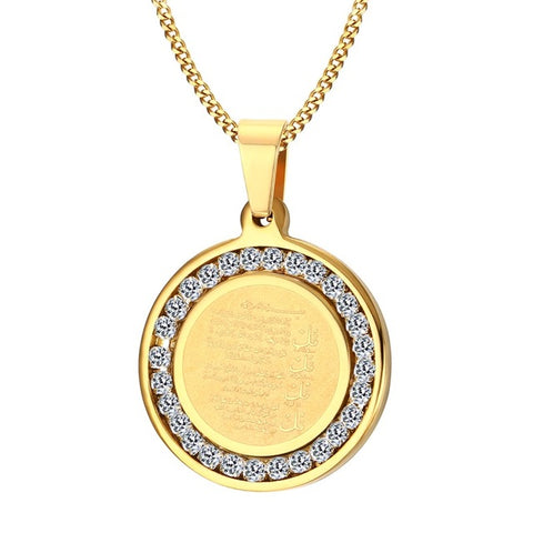 stainless steel round crystal muslim quran pendant necklace
