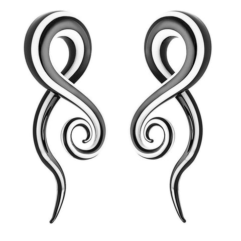 2 Pcs black & white pyrex glass ear spiral taper earrings