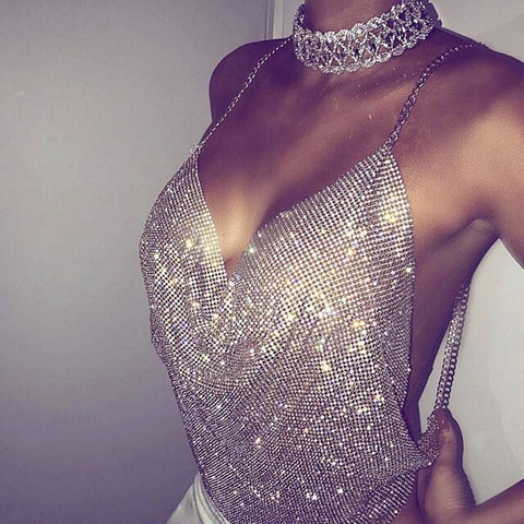 luxury shiny rhinestone crystal chain crop top harness body jewelry