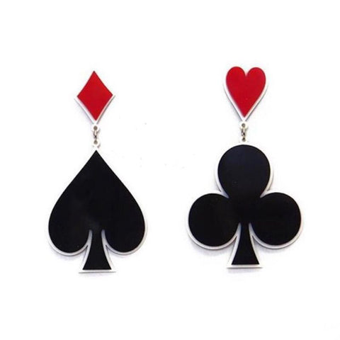 hip hop style exaggerated acrylic playing card stud earrings