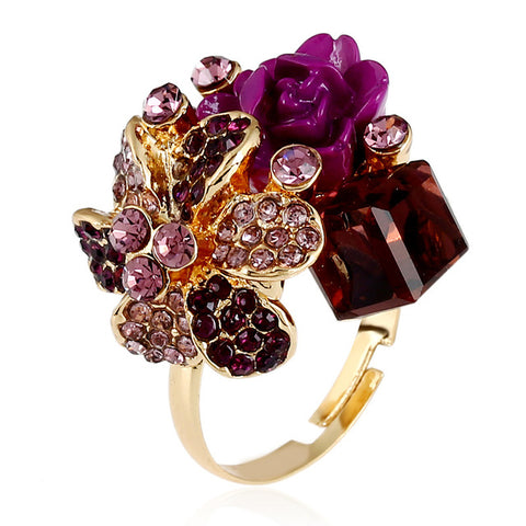 trendy adjustable purple crystal flower ring for women