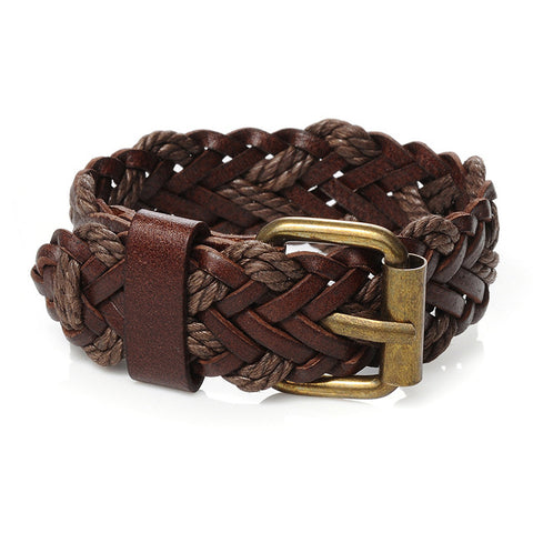 braided rope chain wristband leather wide cuff bracelet