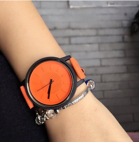 simple casual leather wrist quartz watch for women