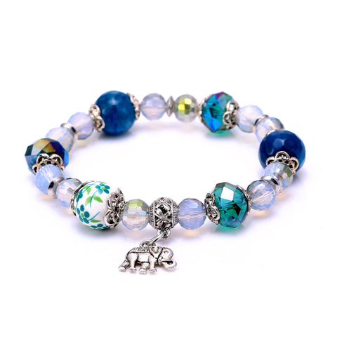 trendy crystal beads elephant charm bracelet for women