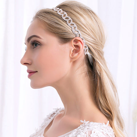 rhinestone with lace band headband for bridal hair jewelry