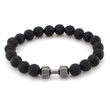 natural stone lava dumbbell beaded bracelet