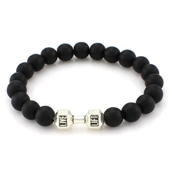 natural stone lava dumbbell beaded bracelet - very-popular-jewelry.com