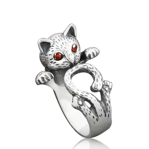 cute cat with crystal eyes open ring for women