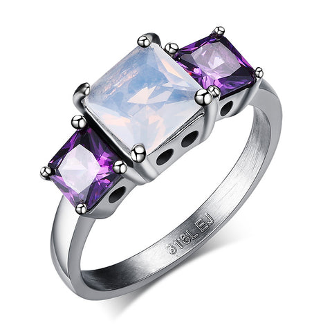 shiny 3 stones stainless steel ring for women