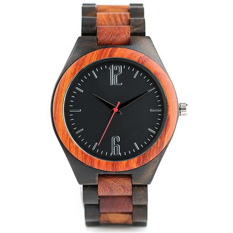 trendy simple dial quartz wooden wrist watch for men