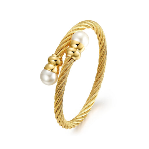 gold color stainless steel imitation pearl bracelet for women