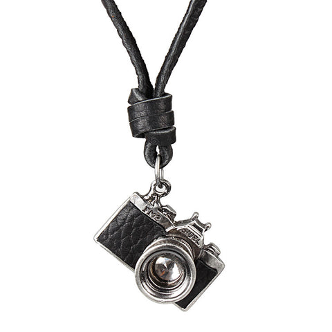 vintage style camera pendant genuine leather chain necklace