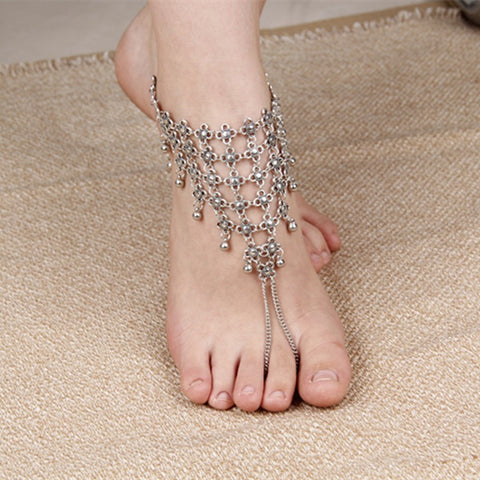 ancient silver color flower coin chain anklet for women