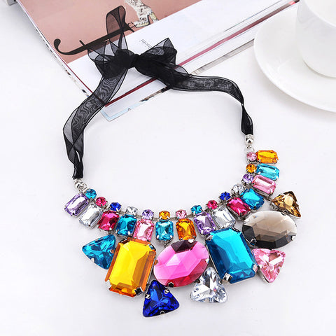 luxury big gem crystal ribbon choker necklace for women