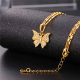luxury cubic zirconia butterfly charm necklace & pendant