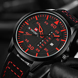 sport style luminous dial leather band quartz watch for men