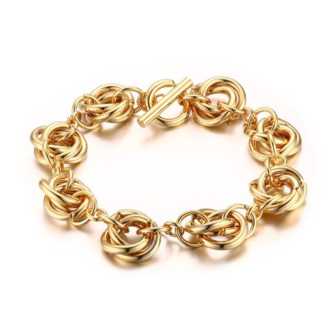stainless steel linked chain cuff bracelet for women