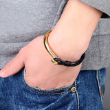 stainless steel leather rope chain bracelet