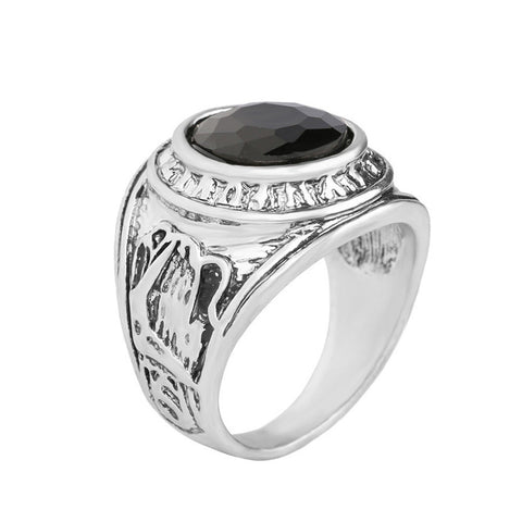 antique silver stone ring for men