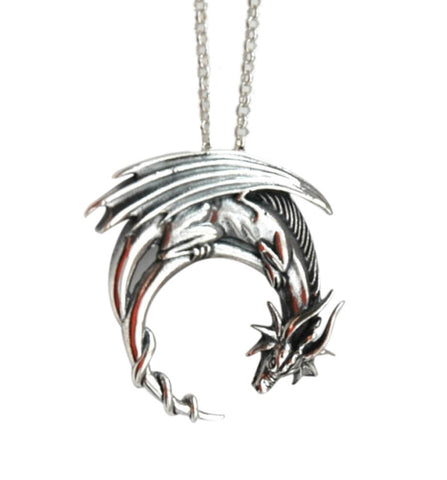 cool silver color winged dragon pendant necklace for men