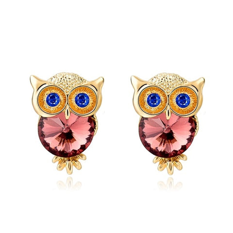 cute crystal owl shape stud earrings for women