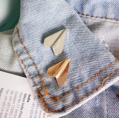 trendy metal paper airplane shape brooch pin