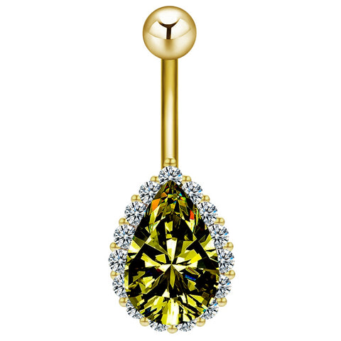 rhinestone green water drop belly button ring for women