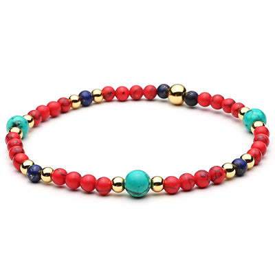 trendy colorful beads & titanium steel bangle bracelet