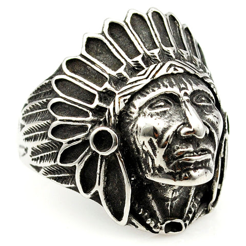 stainless steel indian chief head ring for men