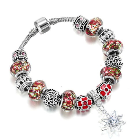 sun flower pendant colorful murano glass beads bracelet