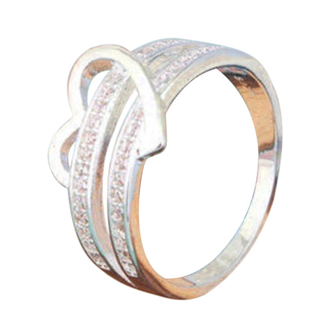 luxury silver color heart & crystal ring for women