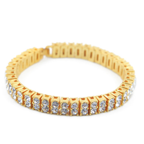 hip hop style silver/gold color iced out 2 rows rhinestones bracelet