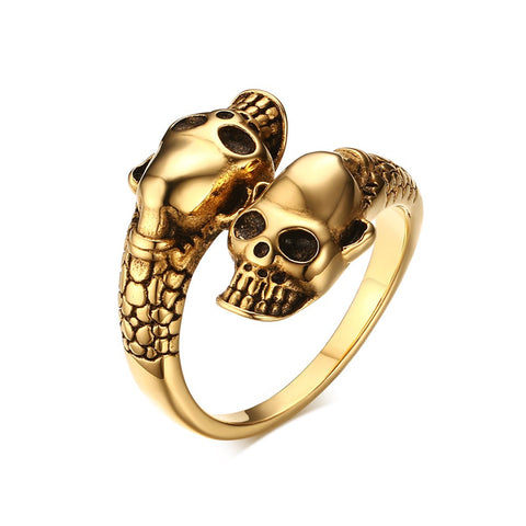 punk style double skull design stainless steel ring