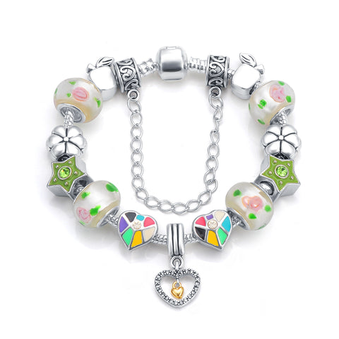silver color crystal heart bead charm bracelet & bangle