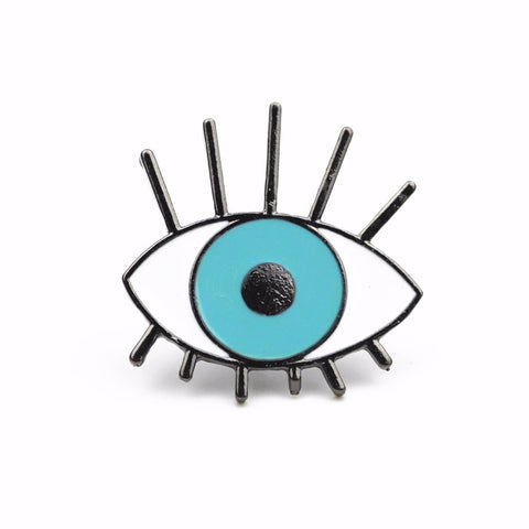 cute cartoon blue eye design metal brooch pin for women
