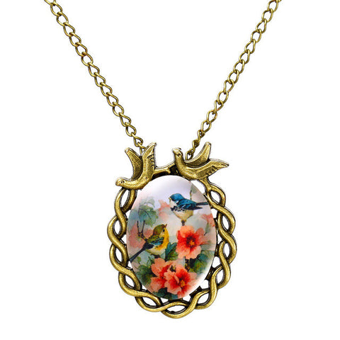 antique bronze oval flower alloy bird necklace glass