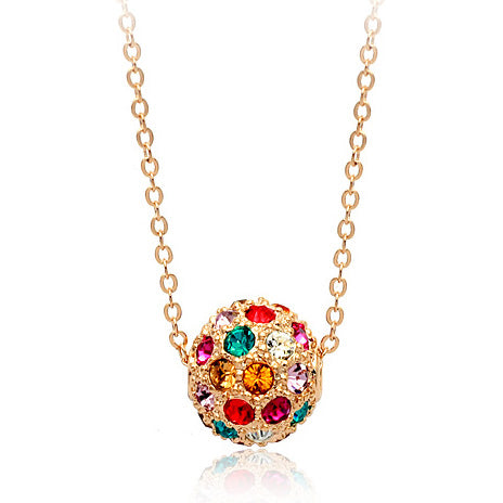 rose gold color lucky ball crystal pendant necklace for women